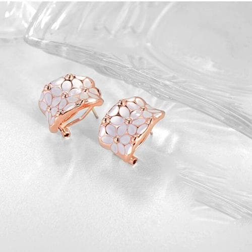 White and Bright Floral Studs - BlingVine