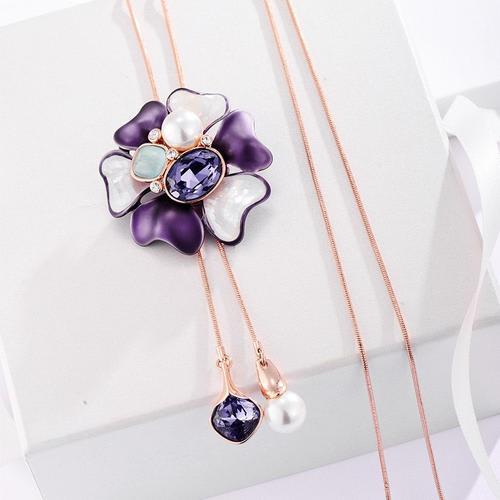 Purple Blossom Long Necklace - BlingVine