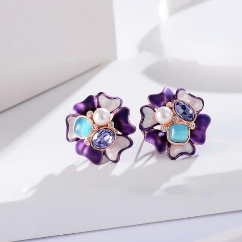 Purple Blossom Studs - BlingVine