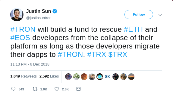 Tron Founder Justin Sun Wants to 'Rescue' DApp Developers from Ethereum & EOS