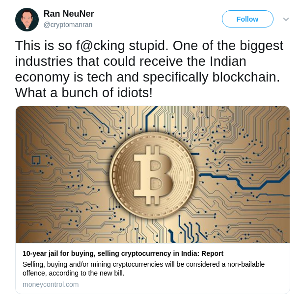 Ran NeuNer, CNBC host and famous crypto trader about India's new law