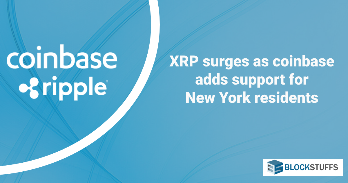 XRP surges as coinbase adds support for New York residents