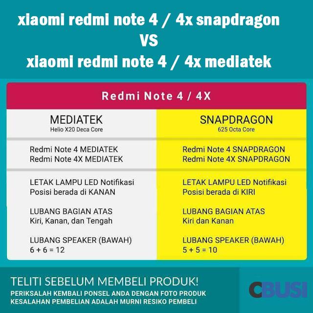 Cara membedakan xiaomi redmi note 4 4x snapdragon dan mediatek