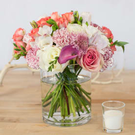 Coral and Pink Mixed Blooms Arrangement