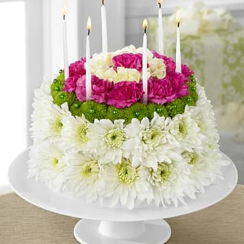 D2 4896 Wonderful Wishes Floral Cake
