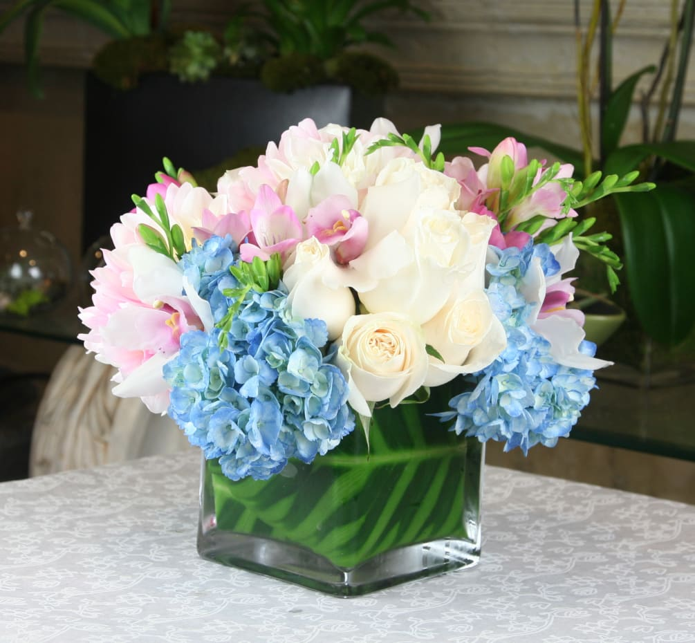 Blue Hydrangeas White Roses By Heathers Flowers