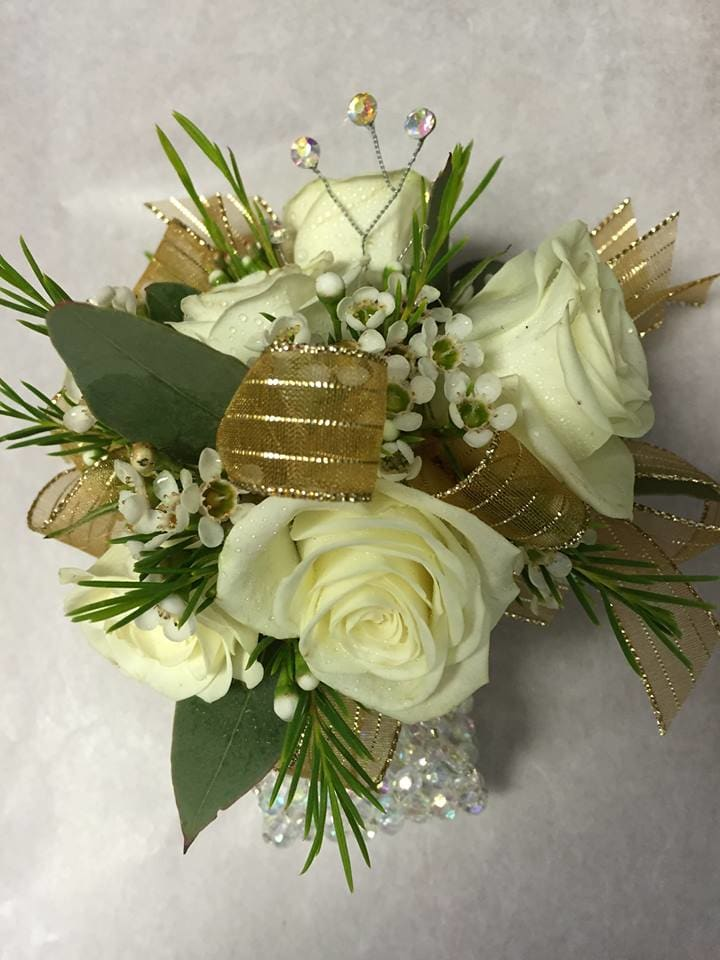 White Gold Wrist Corsage By Alexandrias Flowers