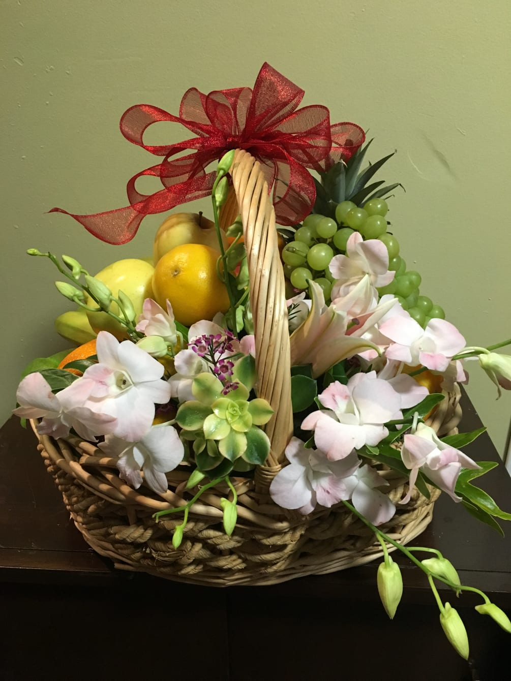Fruit Basket With Orchid