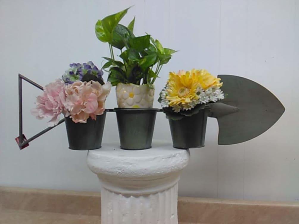 32 Green Metal Flower Pot Holder Shovel ...