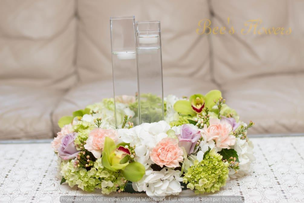 Flat Round Table Centerpiece