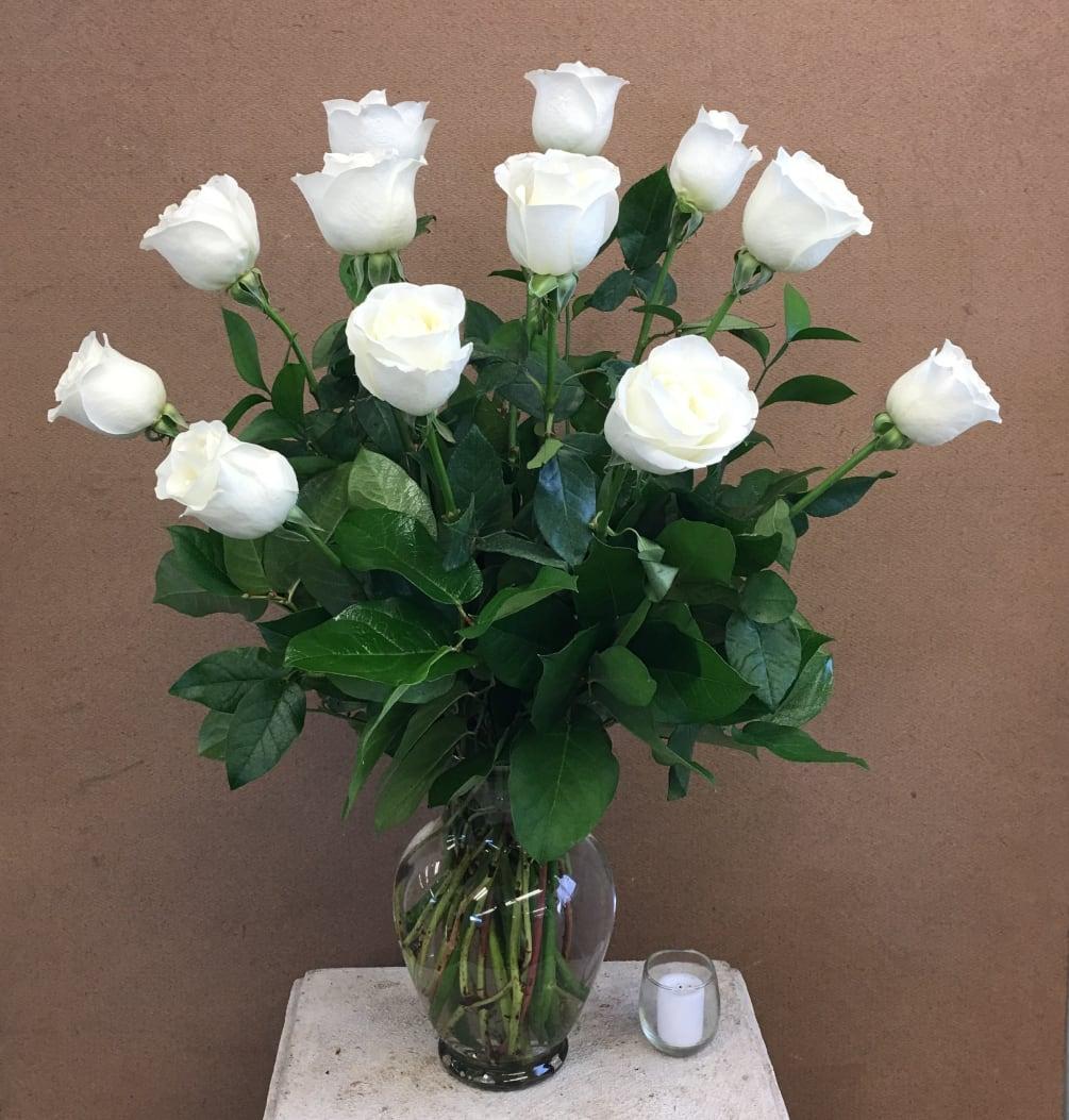 1 Dozen White Roses By Evans Flowers