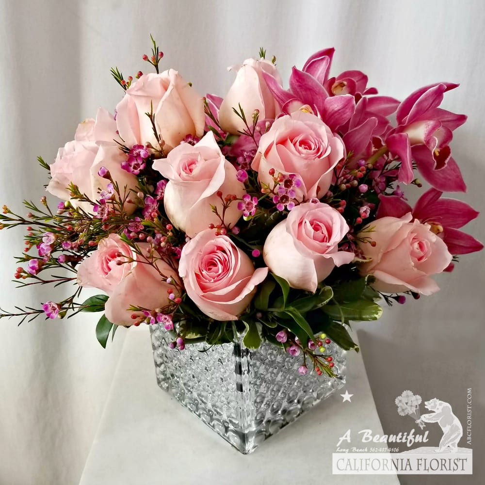 Blush Pink Roses And Orchids From Abc Florist Long Beach By A