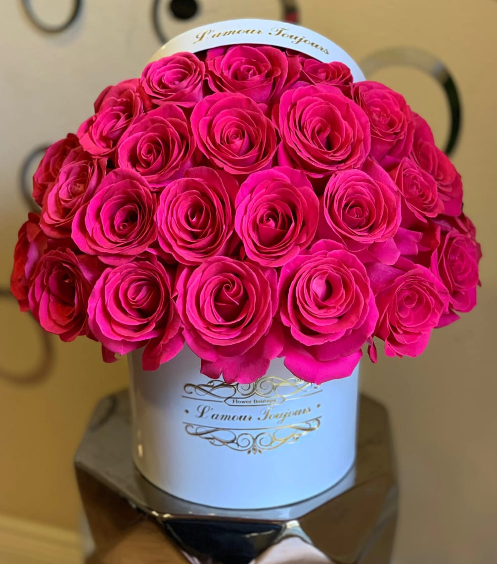 Hot Pink Signature Box By Lamour Toujours Flower Boutique