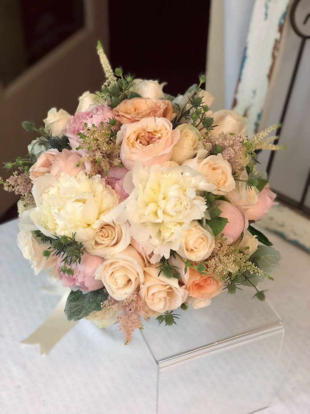 The Stunning Garden Style Bouquet Is Beautifully Designed With Garden Roses,  Peony