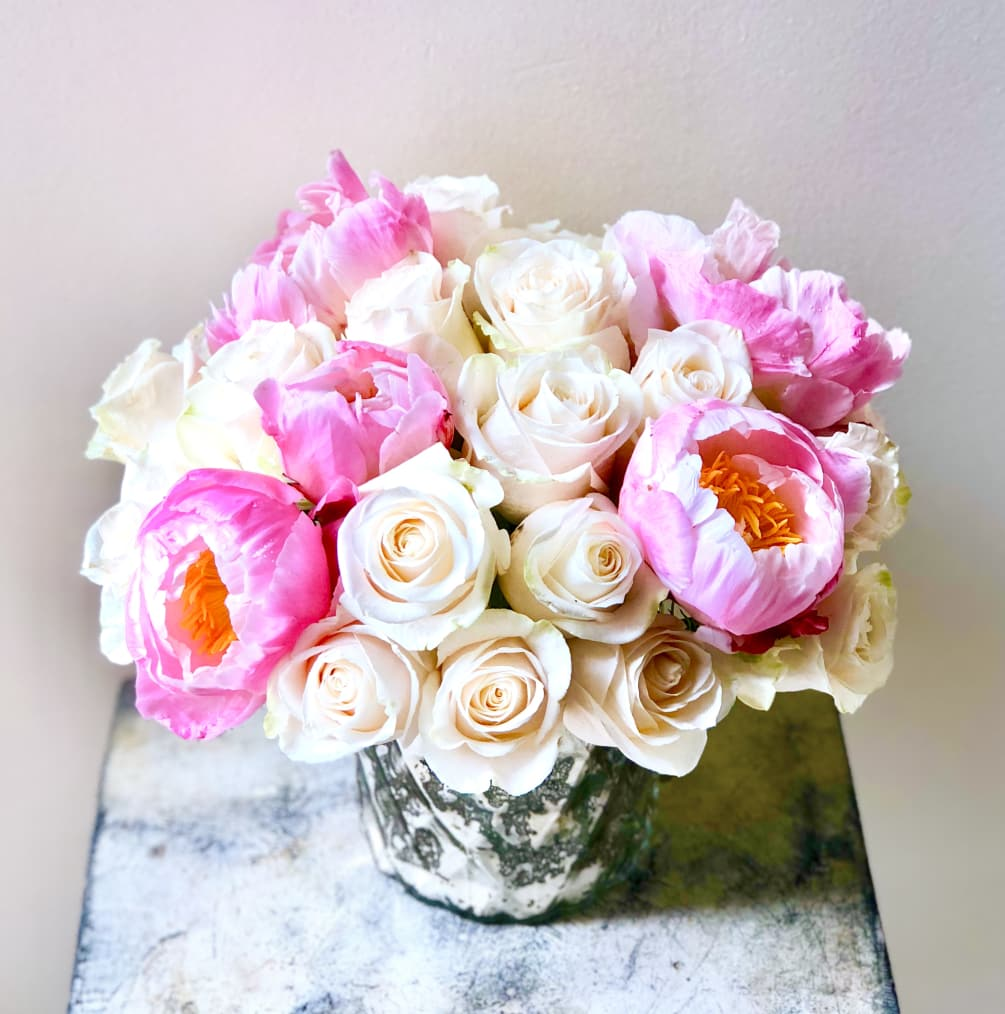 Two Dozen Roses And 5 Stems Of Peonies In A Mercury Vase. Rose