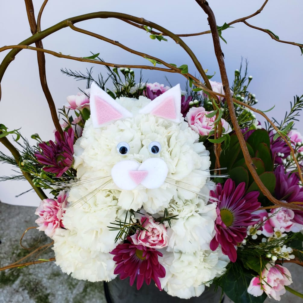 Purrfect Kitty Cat Flower Arrangement By Specialty Floral Design