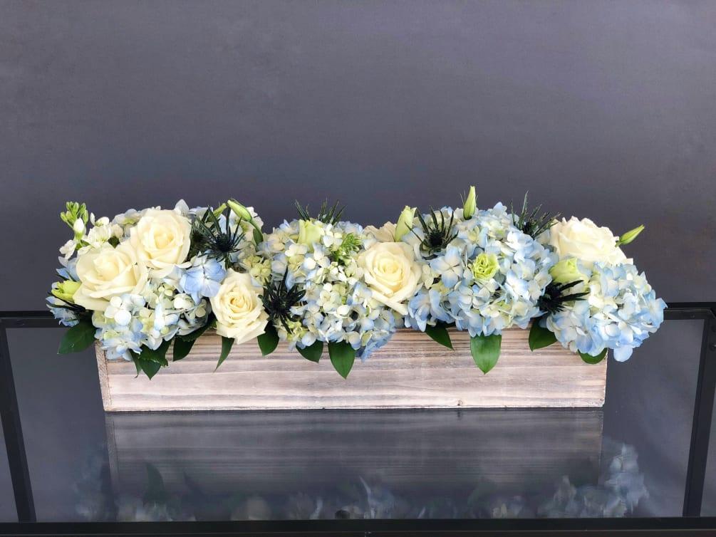 64 Long Wood Box Arrangement White Blue