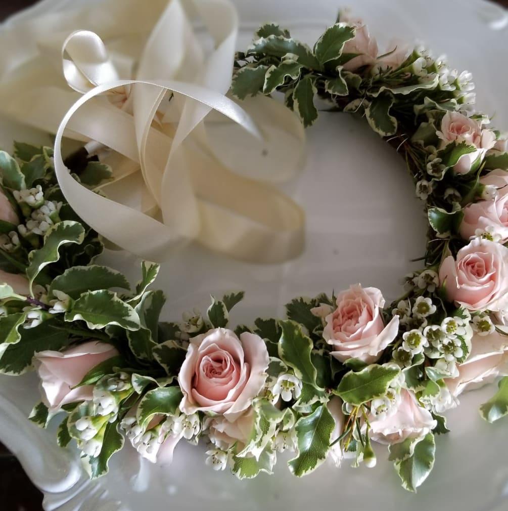 Pink Spray Rose Flower Crown By Heaven Sent Design Floral Studio