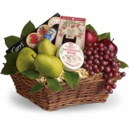 Fruit, crackers, cheese & sausage gift basket.
