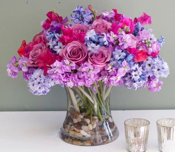 Pink Roses Blue Hyacinths Hollywood Florist In Hollywood Ca