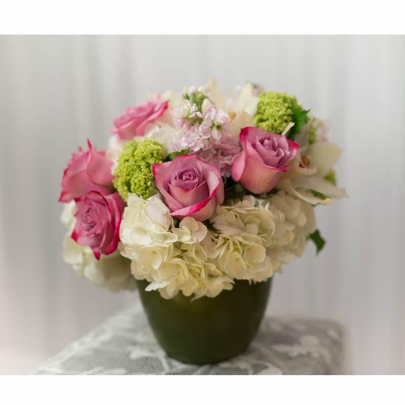 Pink Roses White Hydrangeas By Garden World Florist