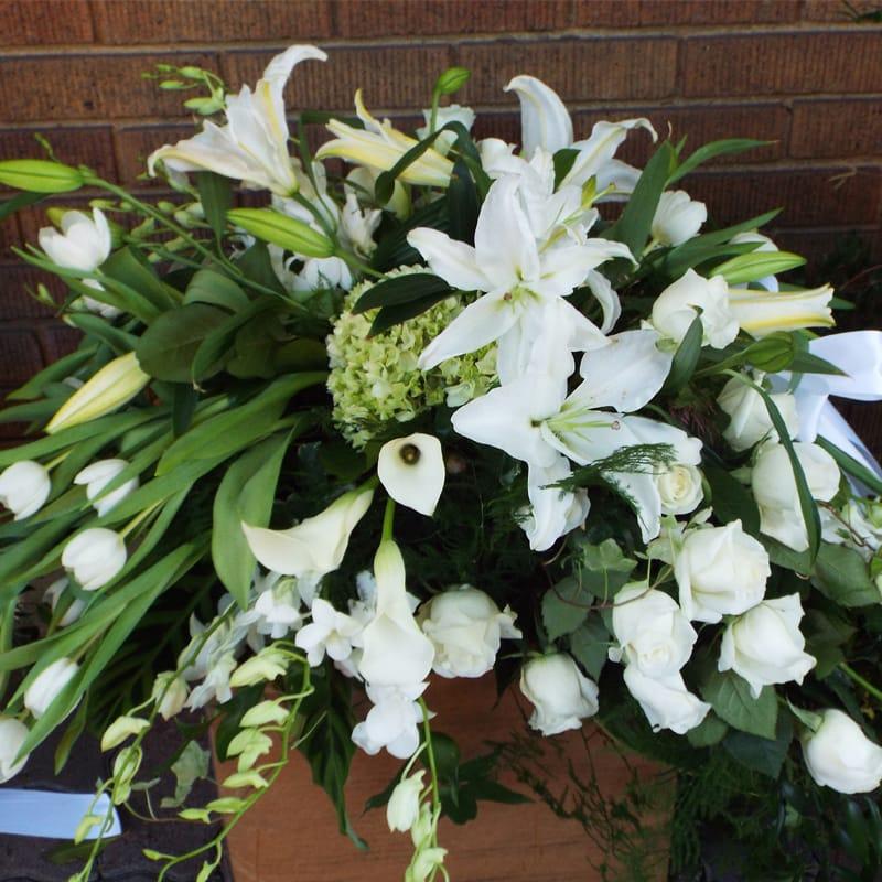 All White Casket Piece In Tustin Ca The Hive Floral Design Studio