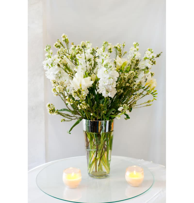 White Stock Flower Bouquet By Riverside Kello Floral