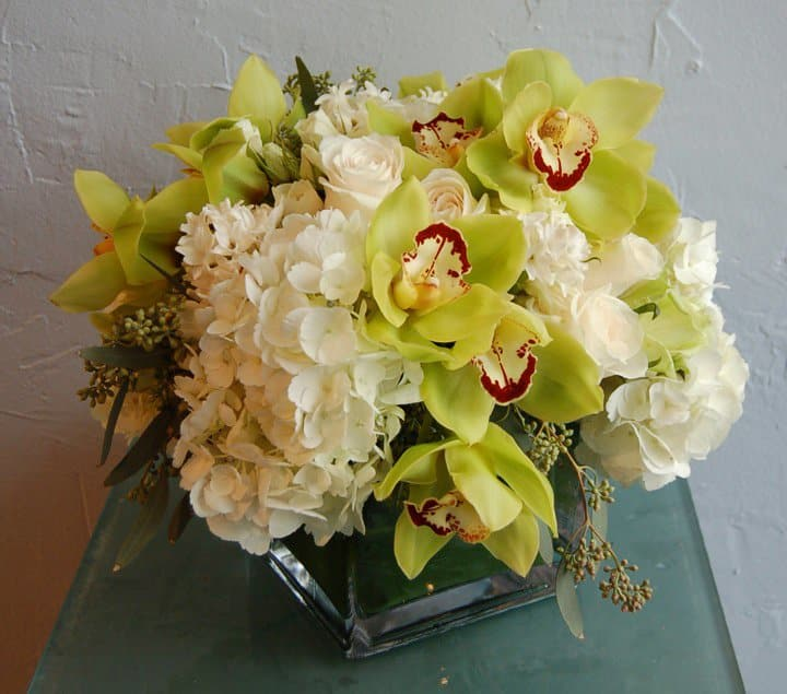 Orchidshydrangeas In A Square Glass Vase By Million Roses Flowers Inc
