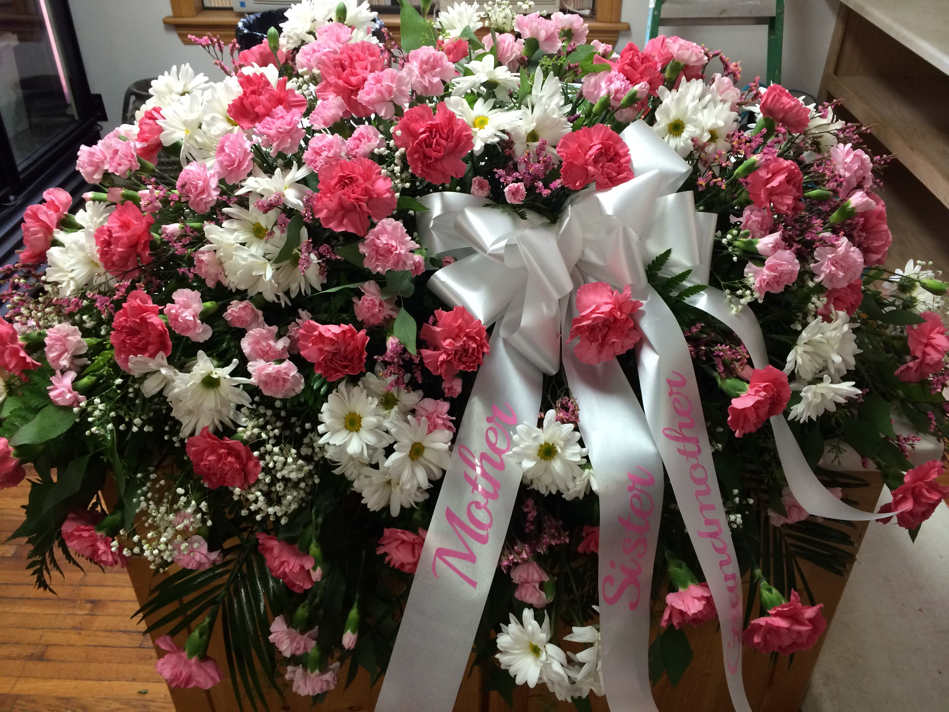 Pinks White Fresh Casket Spray In Elk City Ok Broadway Flowers