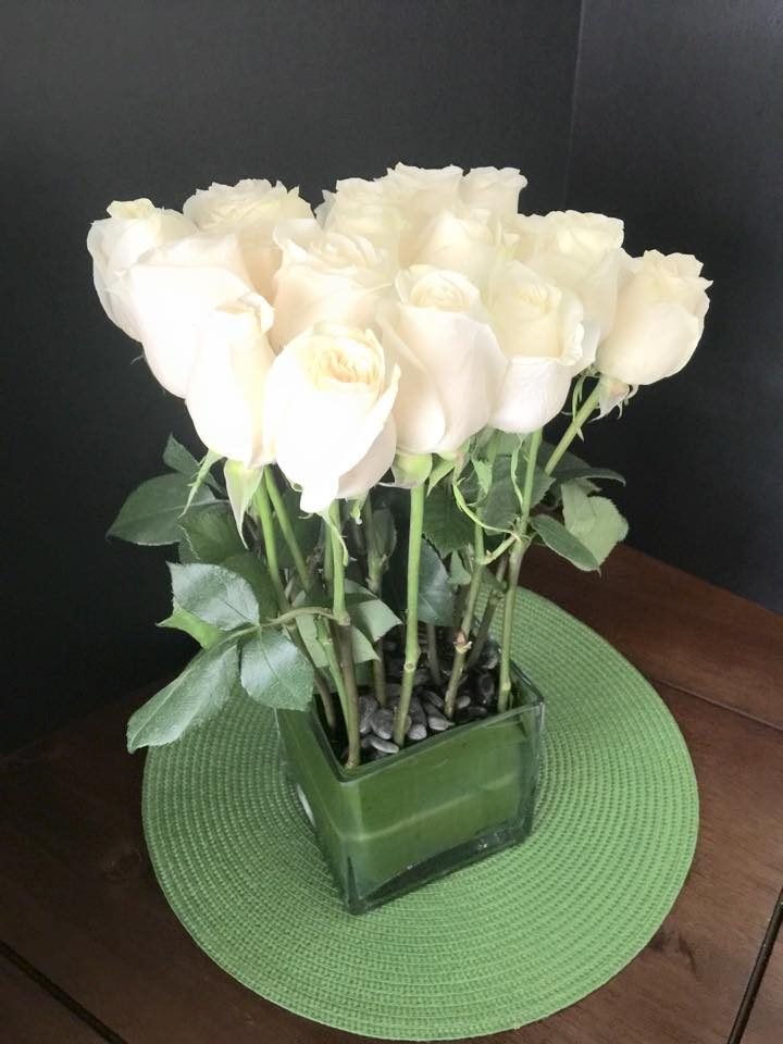 16 White Roses In Glass Vase By Your Beverly Hills Florist