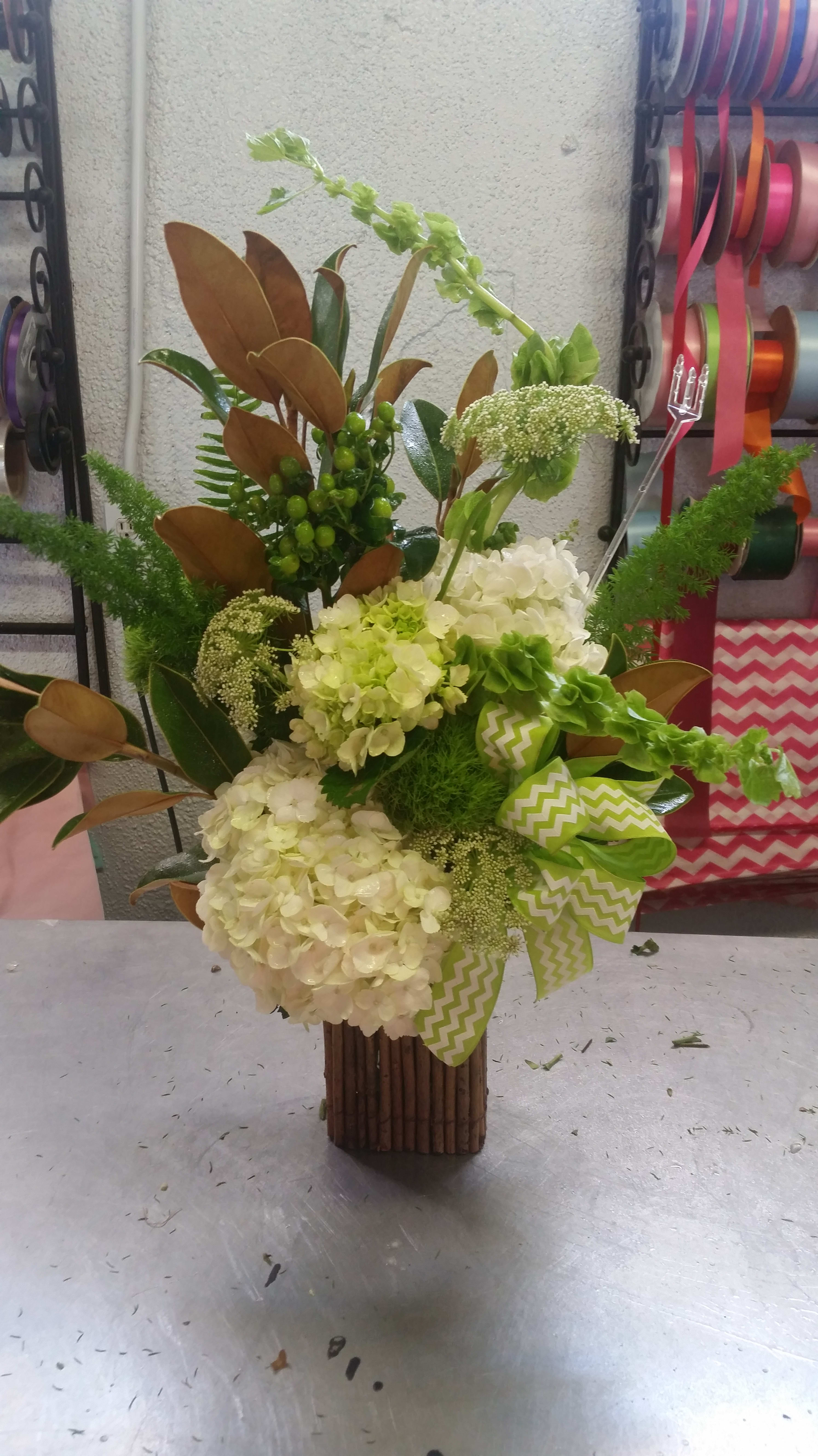 Green White Floral Arrangement In Early Tx K Leshaes Florist