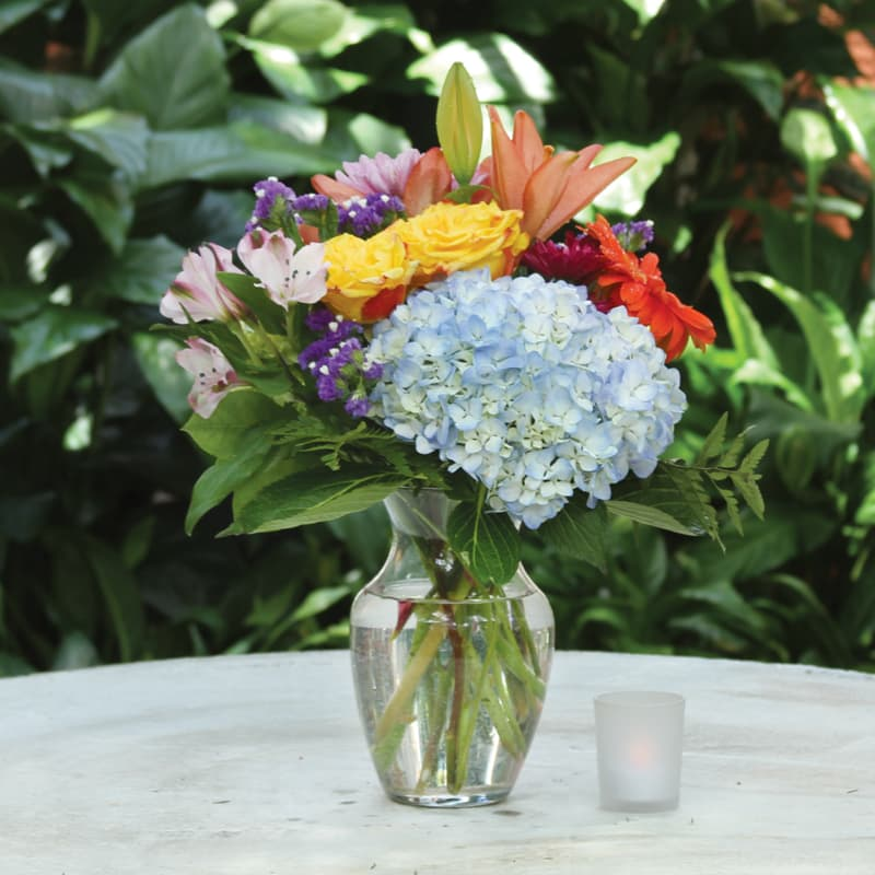 Garden Bouquet Of Roses Hydrangeas And Spring Flowers In Fort