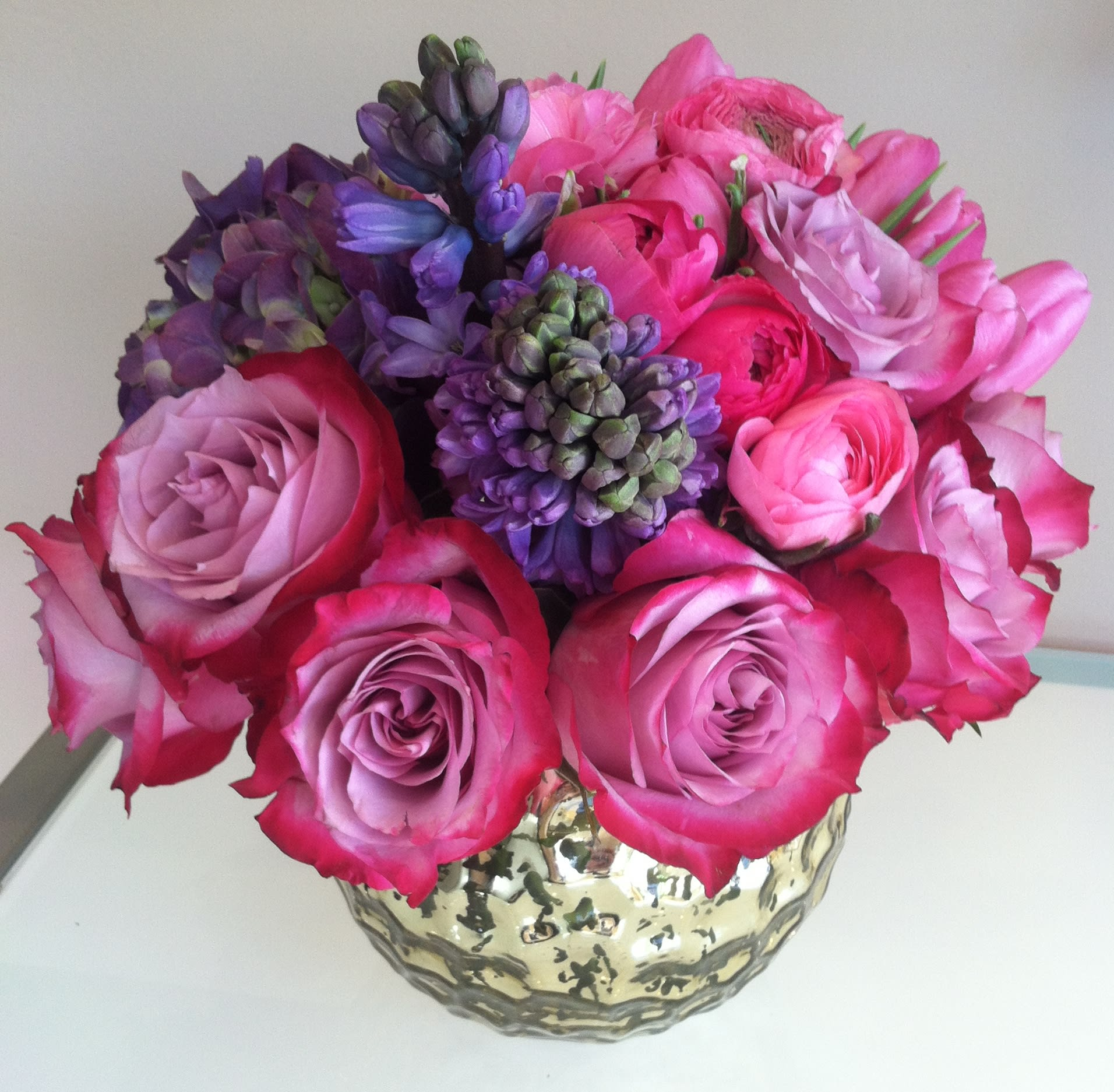 Roses In Garden: Purple Hyacinth And Pink Ranunculus In Chicago, IL