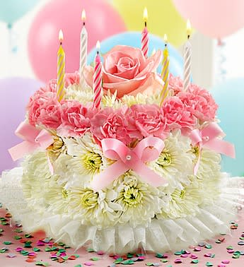 Birthday Pink And White Flower Cake