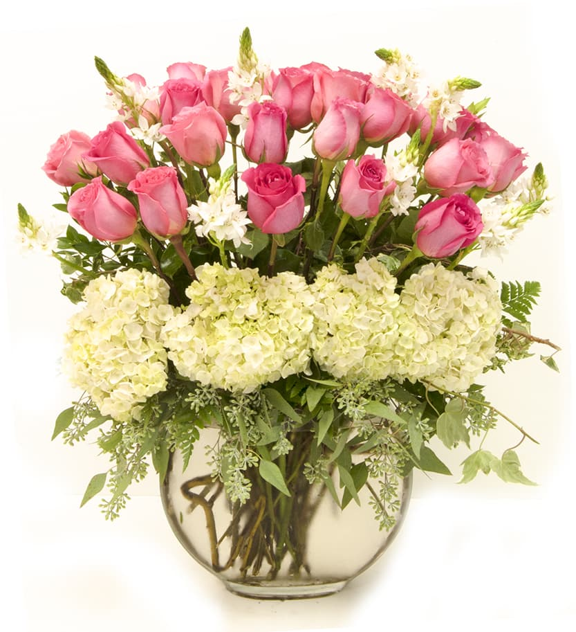 Pink Roses And White Hydrangeas In Metter Ga The Flower Gallery