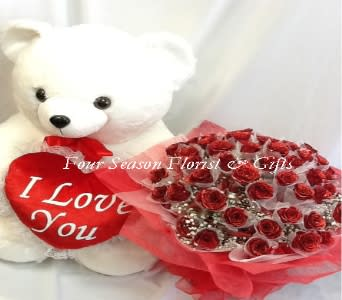 Four Dozen Hong Kong Red Roses Bear In Temple City Ca Four
