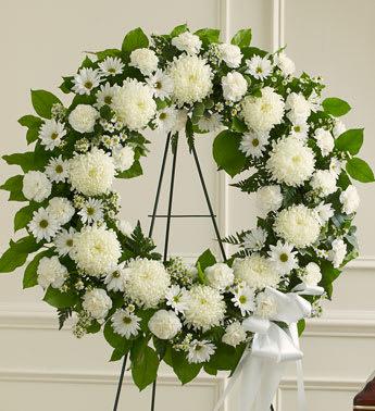 Serenity White Standing Funeral Wreath In Ipswich Ma Ipswich
