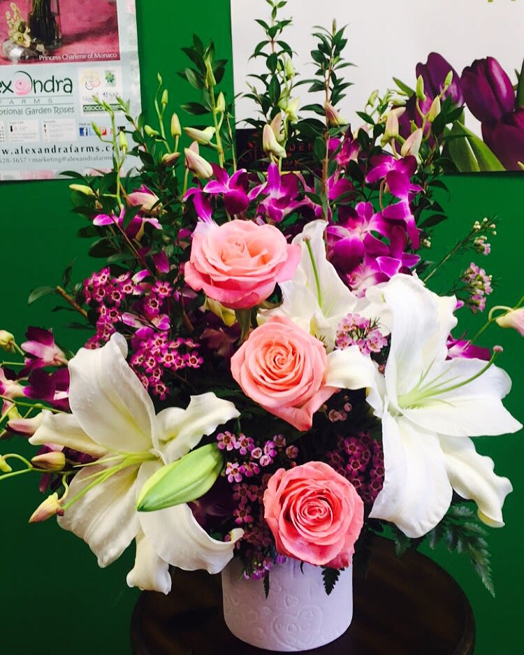 Purple Pink And White Floral Design In Moreno Valley Ca Garden Of