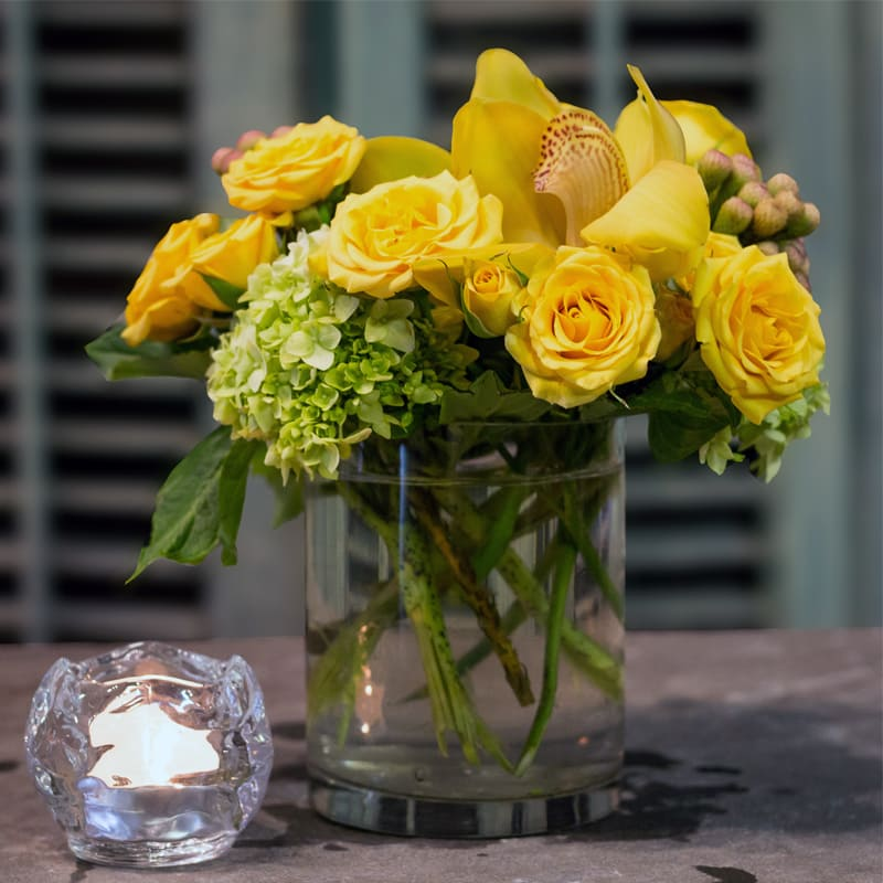 Yellow Arrangement In New York Ny Blue Water Flowers