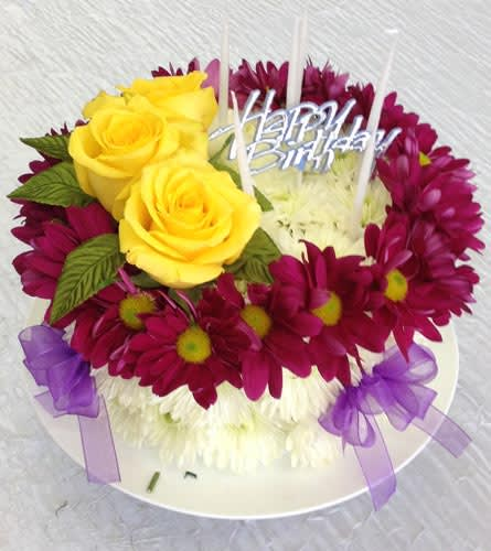 Flower Birthday Cake Of Daisies And Roses