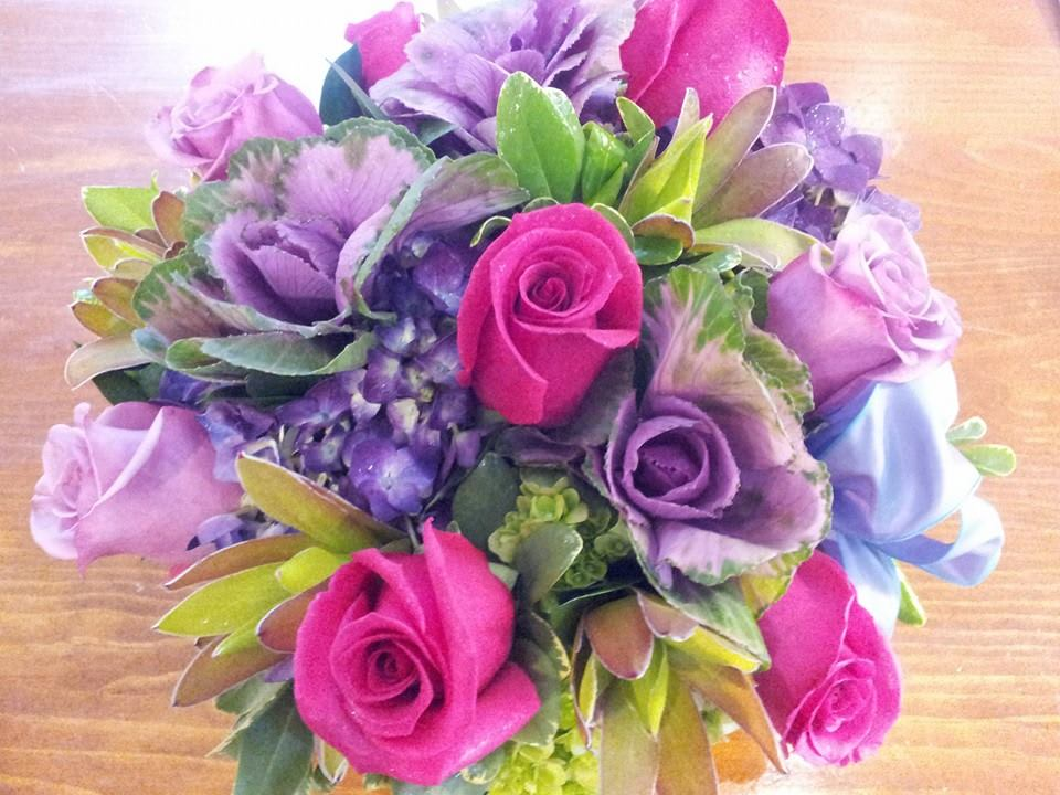 Hot Pink And Lavender Bouquet By Flowers By Christine
