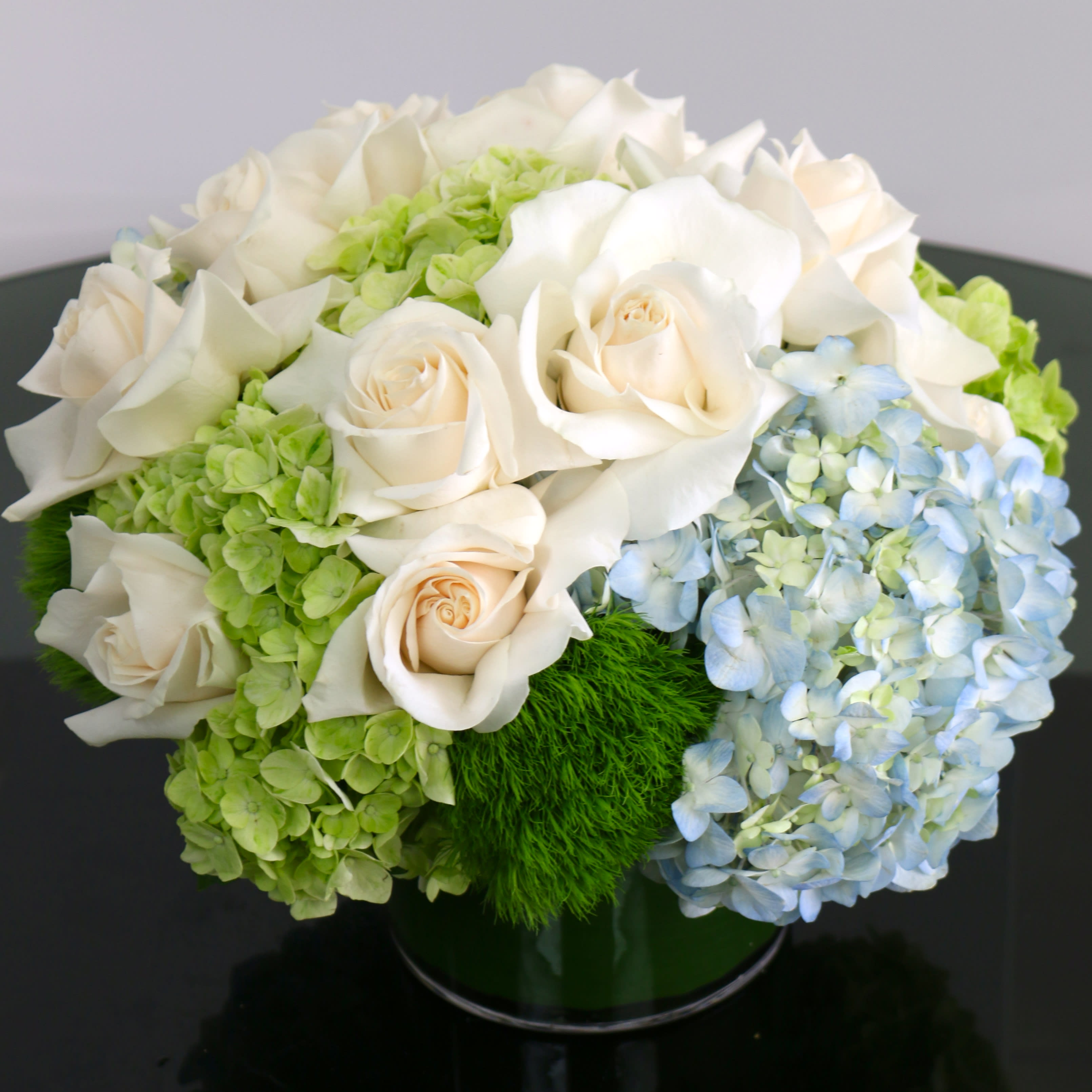 White Roses And Blue Hydrangeas In Boardman Oh Wild Flower