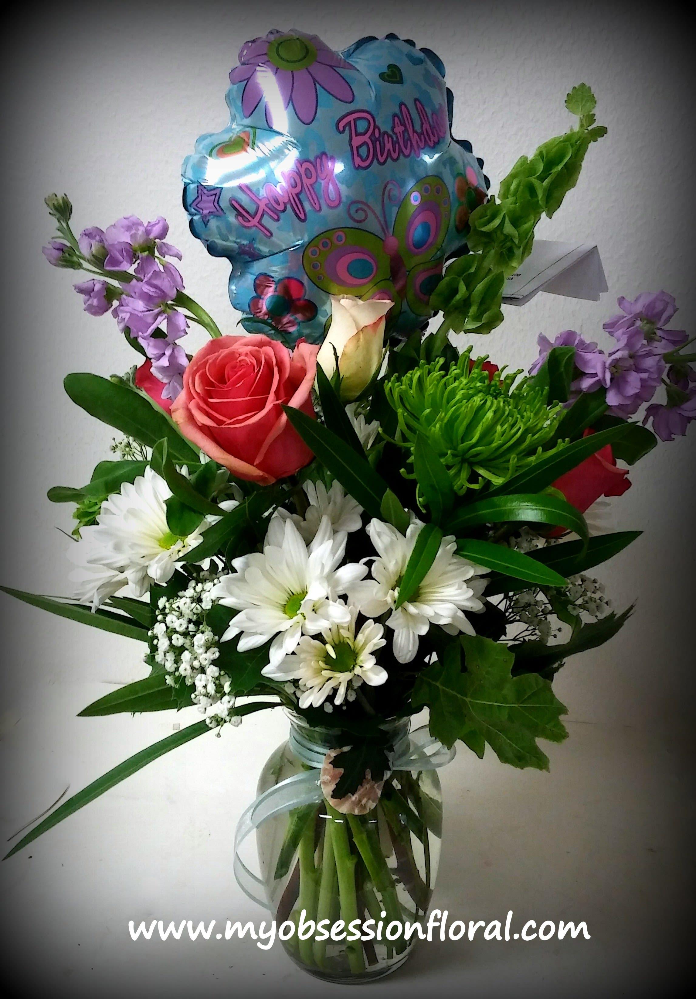 Fresh Floral Arrangement With Happy Birthday Balloon