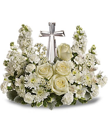 Divine Peace Bouquet - Lush white funeral flowers surround a beautiful crystal cross in this stunning