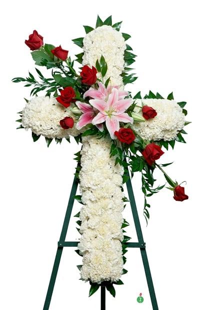 White Cross Standing Spray In Houston Tx Patuju Floral
