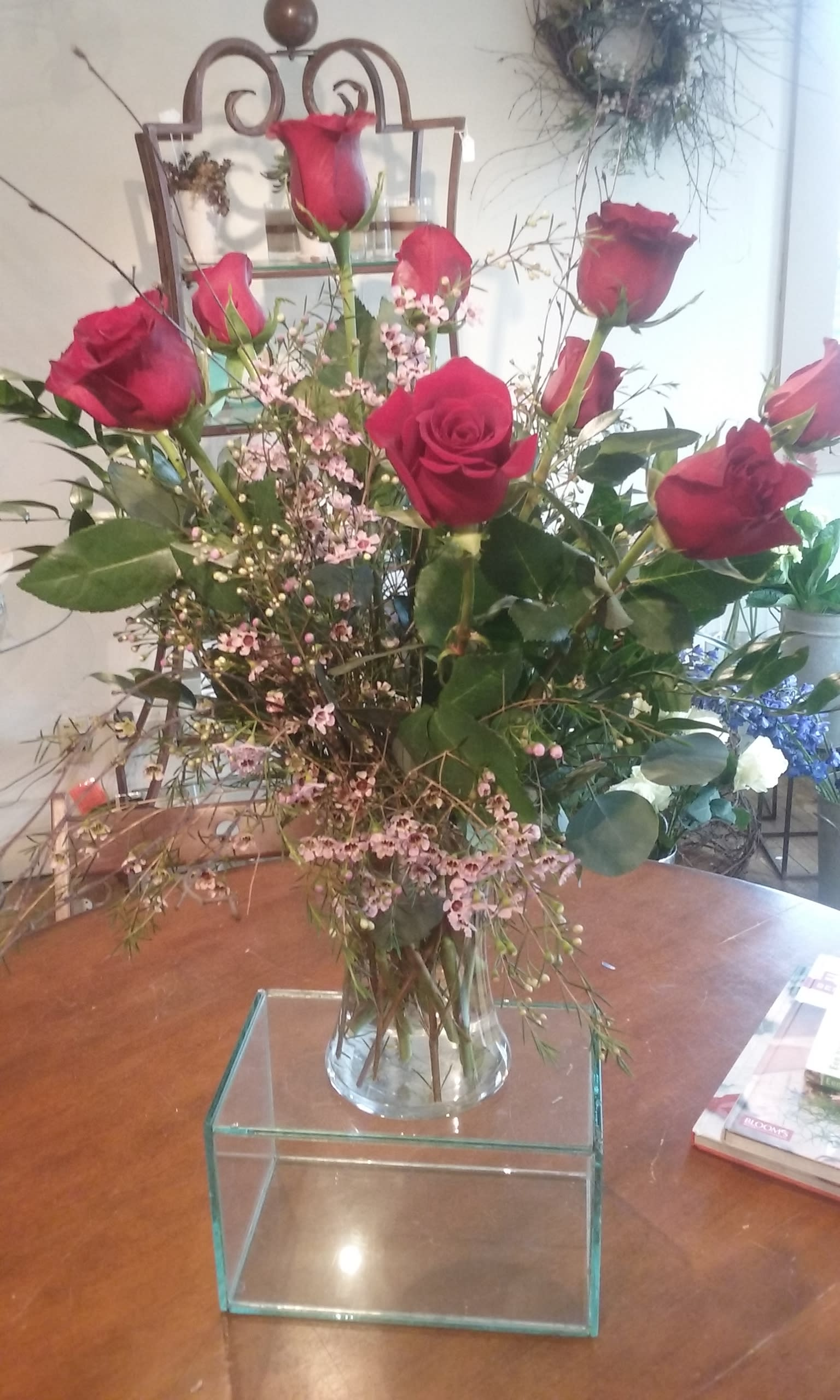 Dozen Roses In Vase In Castle Rock Co The Garden Path Co