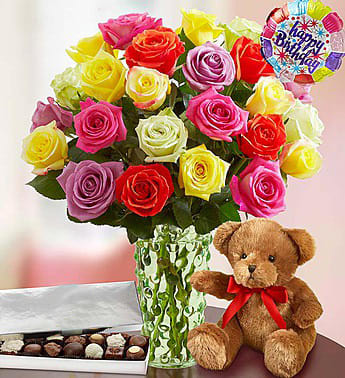 Happy Birthday Assorted Roses 24 Stems With Bear Balloon And Chocolate