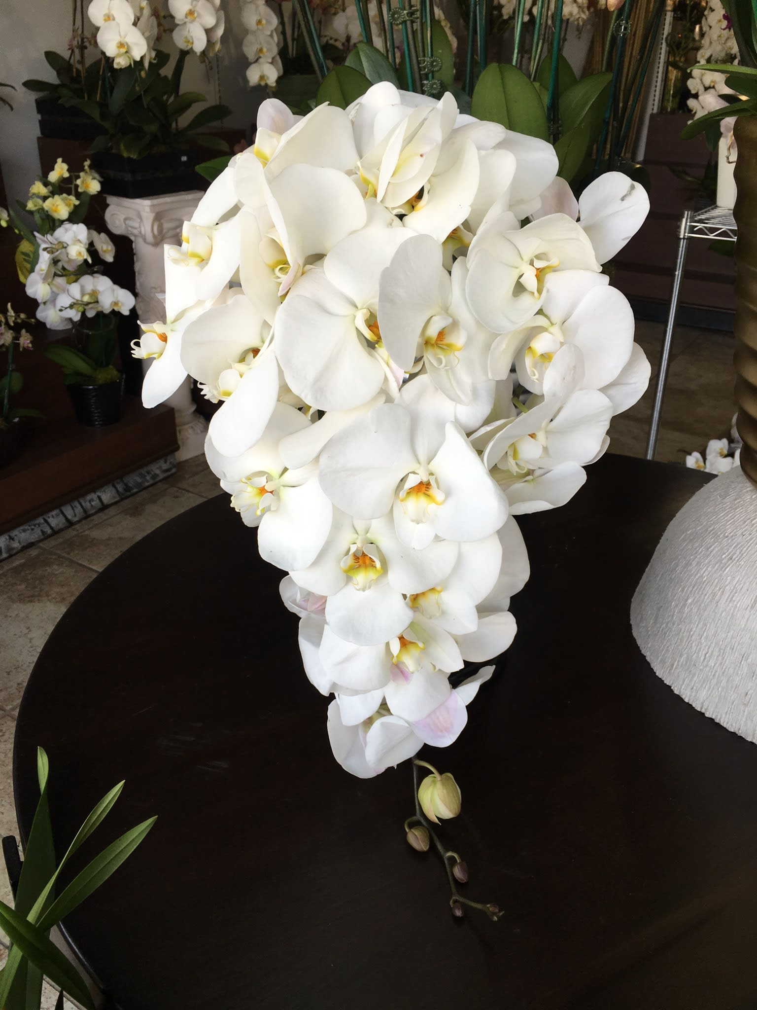 White Phalaenopsis Orchid Cascading Wedding Bouquet By Orkizz Inc
