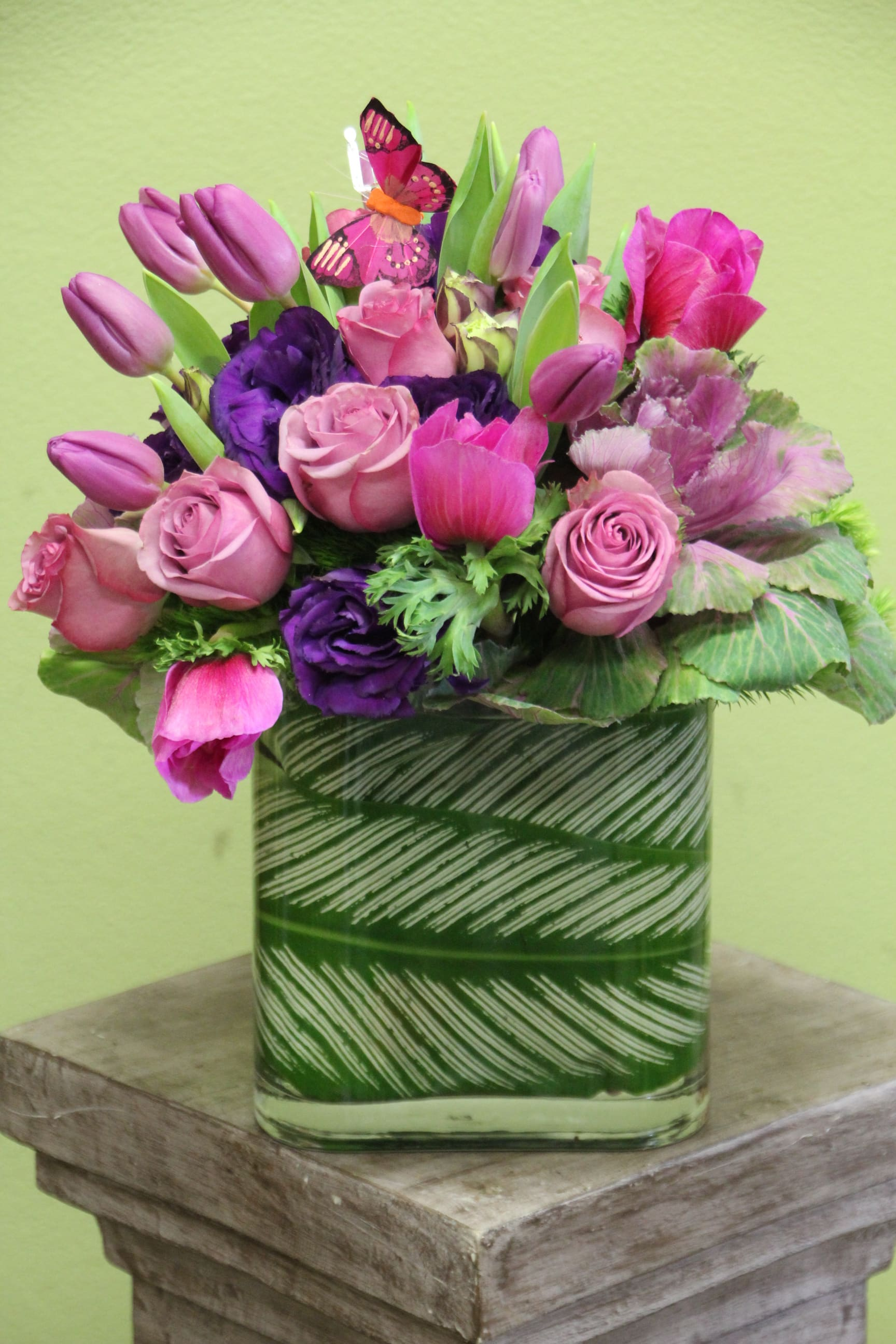 Elaine - Purple Roses, Tulips, Lavender flowers.
