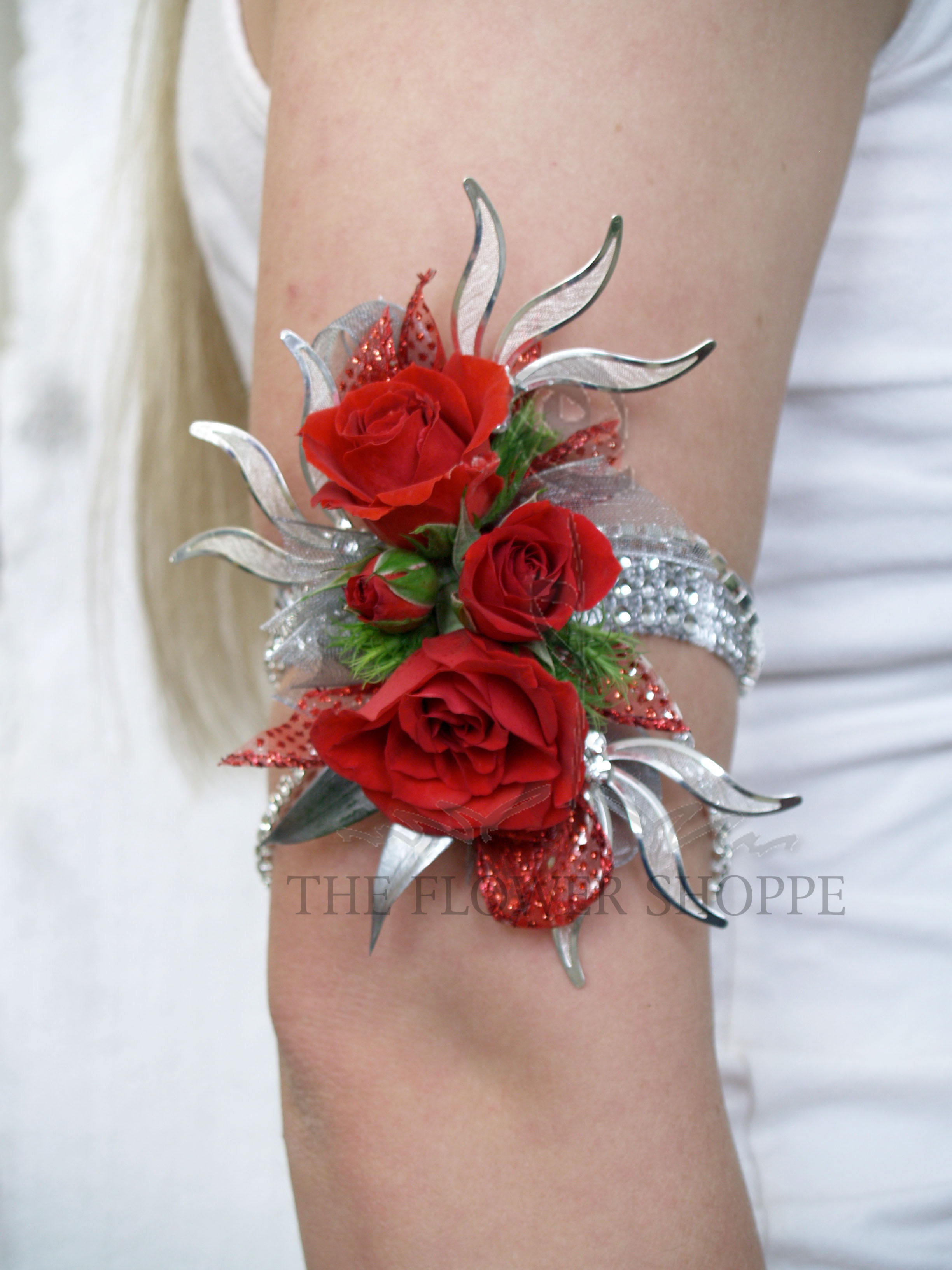 Red Silver Up The Arm Corsage In Pratt Ks The Flower Shoppe
